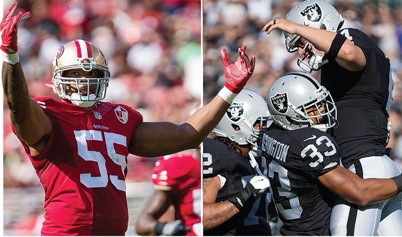 Left: San Francisco 49ers outside linebacker Ahmad Brooks (55) celebrates against the Houston Texans at Levi's Stadium in Santa Clara, Calif., on August 14, 2016. Right: Oakland Raiders tackle Donald Penn (72), running back DeAndre Washington (33) and quarterback Derek Carr (4) celebrate a touchdown against the Tennessee Titans at Oakland Coliseum in Oakland, Calif., on August 26, 2016. (Stan Olszewski/Special to S.F. Examiner)