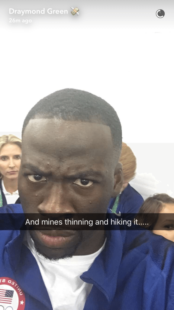 Draymond Green remains a tough, but fair, hairline critic. (Draymond Green/Snapchat)