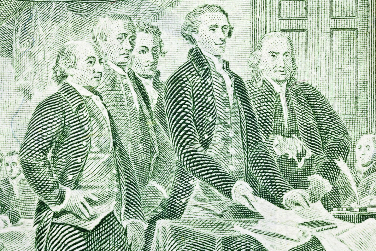 The image on the back of the U.S. two-dollar bill depicts Thomas Jefferson, Benjamin Franklin, John Adams and other colonials presenting the Declaration of Independence to Congress. (Courtesy photo)
