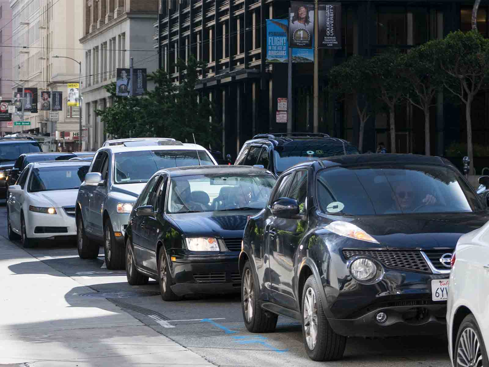 An estimated 5,700 ride-hail vehicles make 170,000 vehicle trips within The City, according to a recent study by the San Francisco County Transportation Authority. (Sarahbeth Maney/Special to S.F. Examiner)