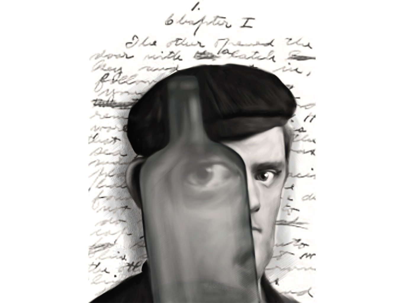 "A caricature of Jack London, looking through an empty liquor bottle in front of the manuscript of ""Martin Eden."" (Courtesy photo)"