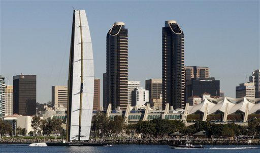 AP file photoThe BMW Oracle trimaran sails past the San Diego skyline during testing in San Diego in this file photo.