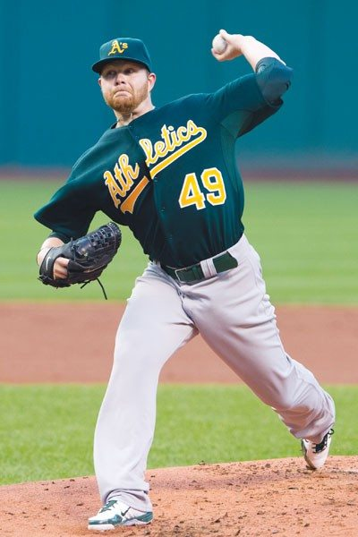 Brett Anderson, seen here in his last stint with the A's, got the hard-luck no-decision on Wednesday.