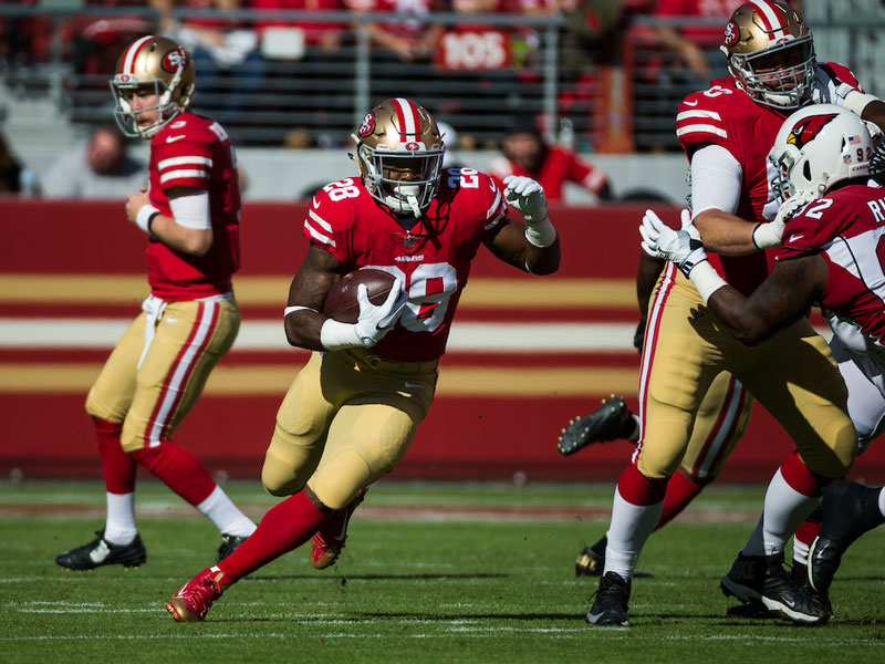 Carlos Hyde has been the best player on the 49ers roster this year, but it's been difficult for the team to commit to the run game as they've been trailing for most of the season. (Stan Olszewski/Special to S.F. Examiner)