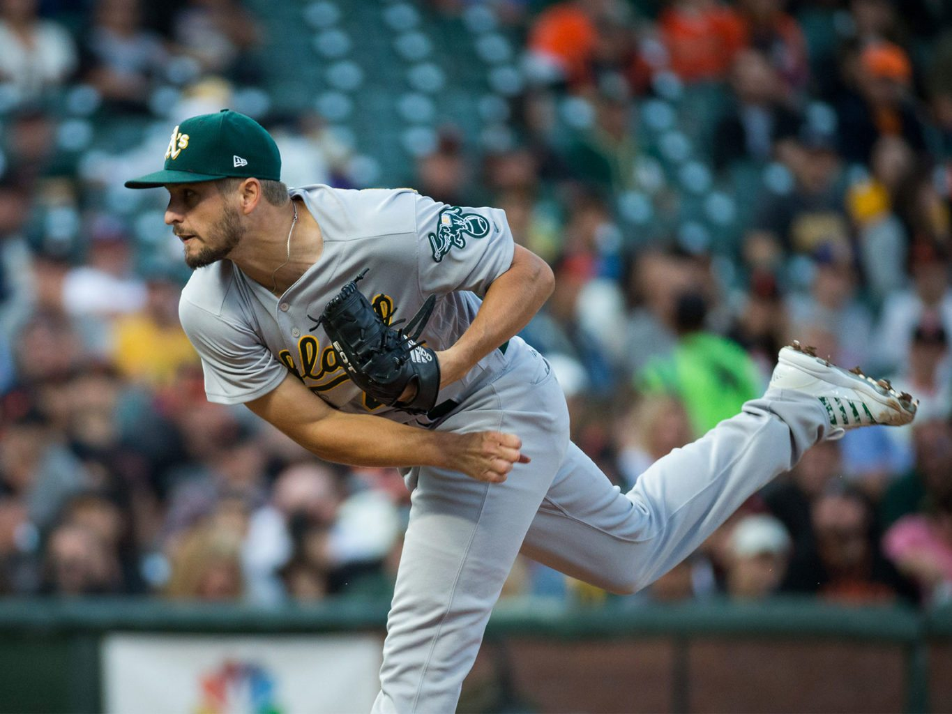Oakland Athletics starting pitcher Kendall Graveman (49) pitches against the San Francisco Giants at AT&T Park in San Francisco, California, on August 3, 2017. (Stan Olszewski/Special to S.F. Examiner)