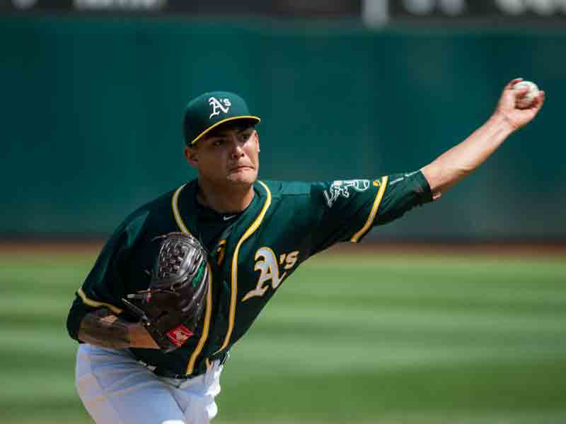Sean Manaea, pictured in September of 2017, threw a no-hitter on April 22, 2018, and finally returned to form on Sunday. (Stan Olszewski/Special to S.F. Examiner)