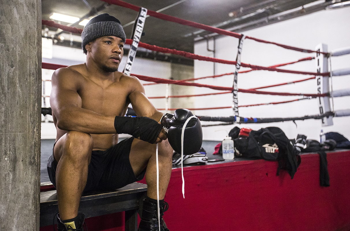 Karim Mayfield exits the ring after training at Third Street Boxing Gym in the Dogpatch Wednesday. (Jessica Christian/S.F. Examiner)
