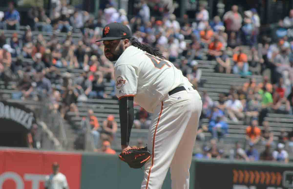 Johnny Cueto, seen here in August of 2017, only threw 61 pitches on Saturday. (Jacob C. Palmer/S.F. Examiner)