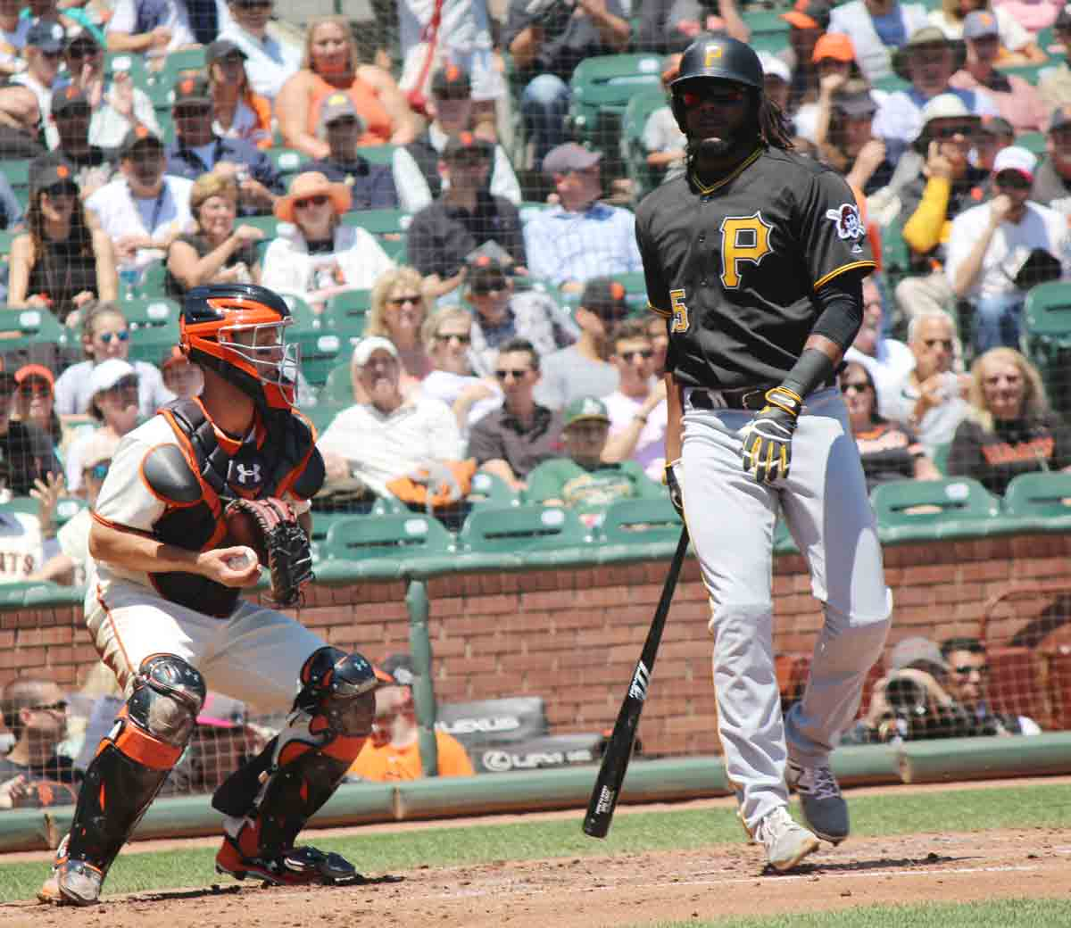 Pirates first baseman Josh Bell gets turned around when he strikes out against the San Francisco Giants on Wednesday at AT&T Park. (Jacob C. Palmer/S.F. Examiner)