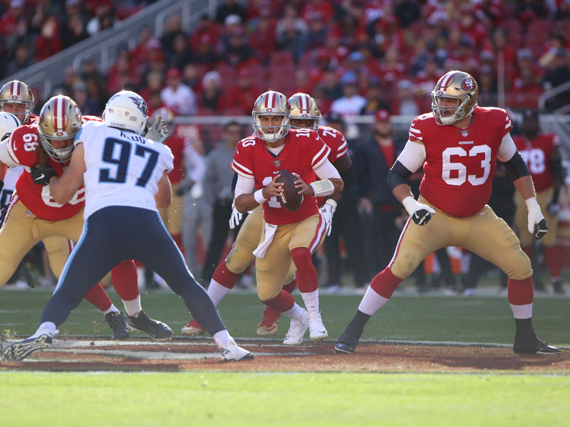 Jimmy Garoppolo threw for 381 yards on Sunday against the Tennessee Titans, leading the 49ers to a third-straight win. (Mira Laing/Special to S.F. Examiner)