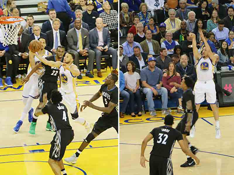 Stephen Curry and Klay Thompson led the Golden State Warriors past the Minnesota Timberwolves with a huge third quarter on Tuesday. (Jacob C. Palmer/S.F. Examiner)