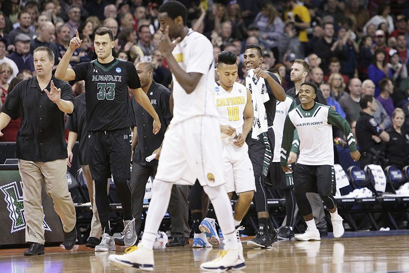 The Cal men's basketball team was bounced out of the NCAA tournament in the round of 64 by Hawaii. Marking a disappointing finish to a confounding season. (Young Kwak/AP)