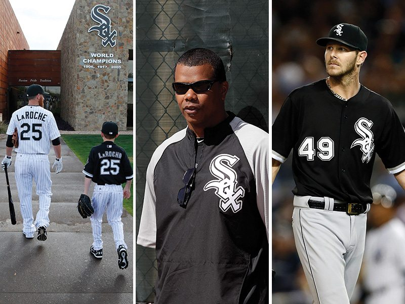 Adam Laroche and his son Drake, left, were told by Kenny Williams, center, to not come to the Chicago White Sox clubhouse anymore. Chris Sale, right, was quite upset about that decision. (John Lochner, Jae C. Hong, Adam Hunger/AP)