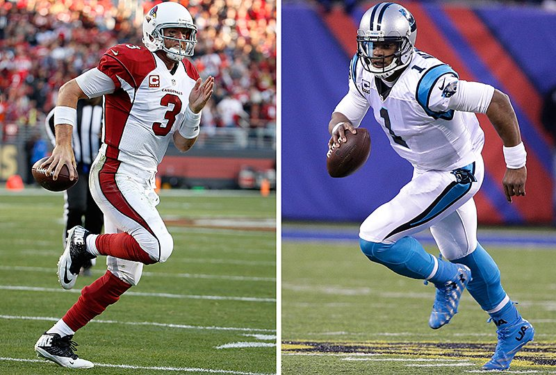 Former Heisman trophy winners Carson Palmer and Cam Newton will face off in the NFC Championship game on Sunday. (File AP photo)