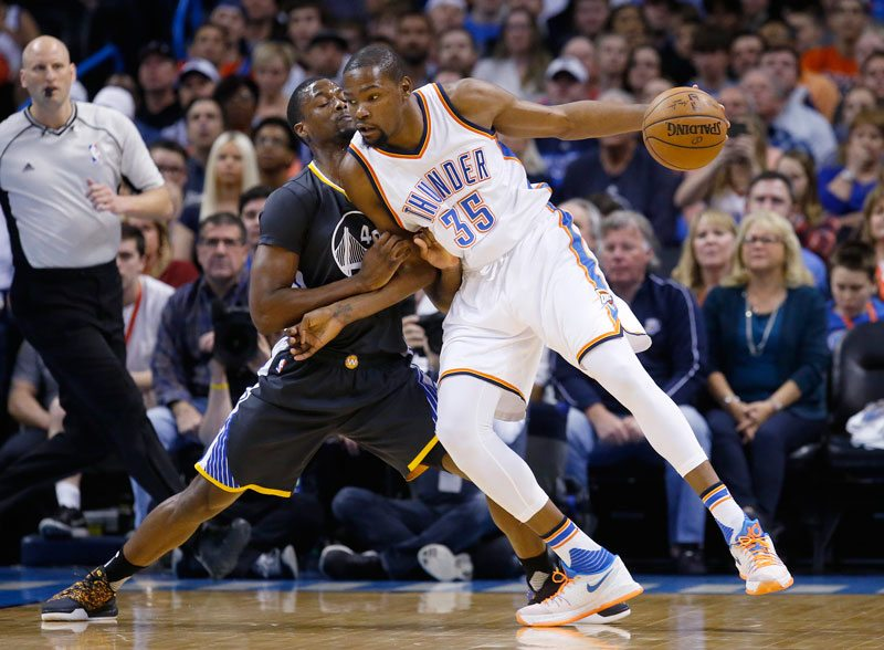 Kevin Durant will be an unrestricted free agent this offseason. The Warriors will have an opportunity to match any offer Harrison Barnes accepts. (Sue Ogrocki/AP)