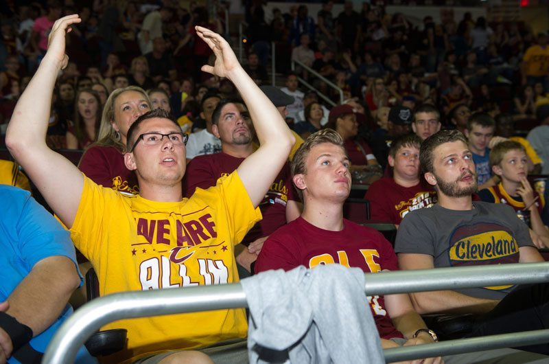 Cleveland fans didn't have a lot to cheer in the first two games of the NBA Finals. (Phil Long/AP)