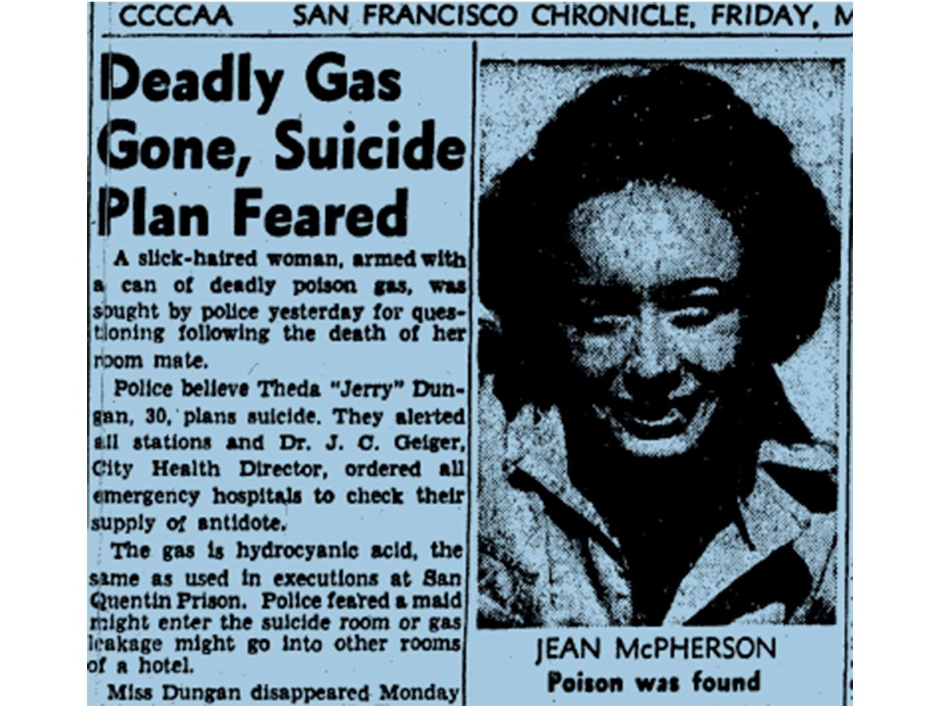 Jean McPherson's death by cyanide poisoning is announced in the San Francisco Chronicle on May 30, 1947. (Courtesy photo)