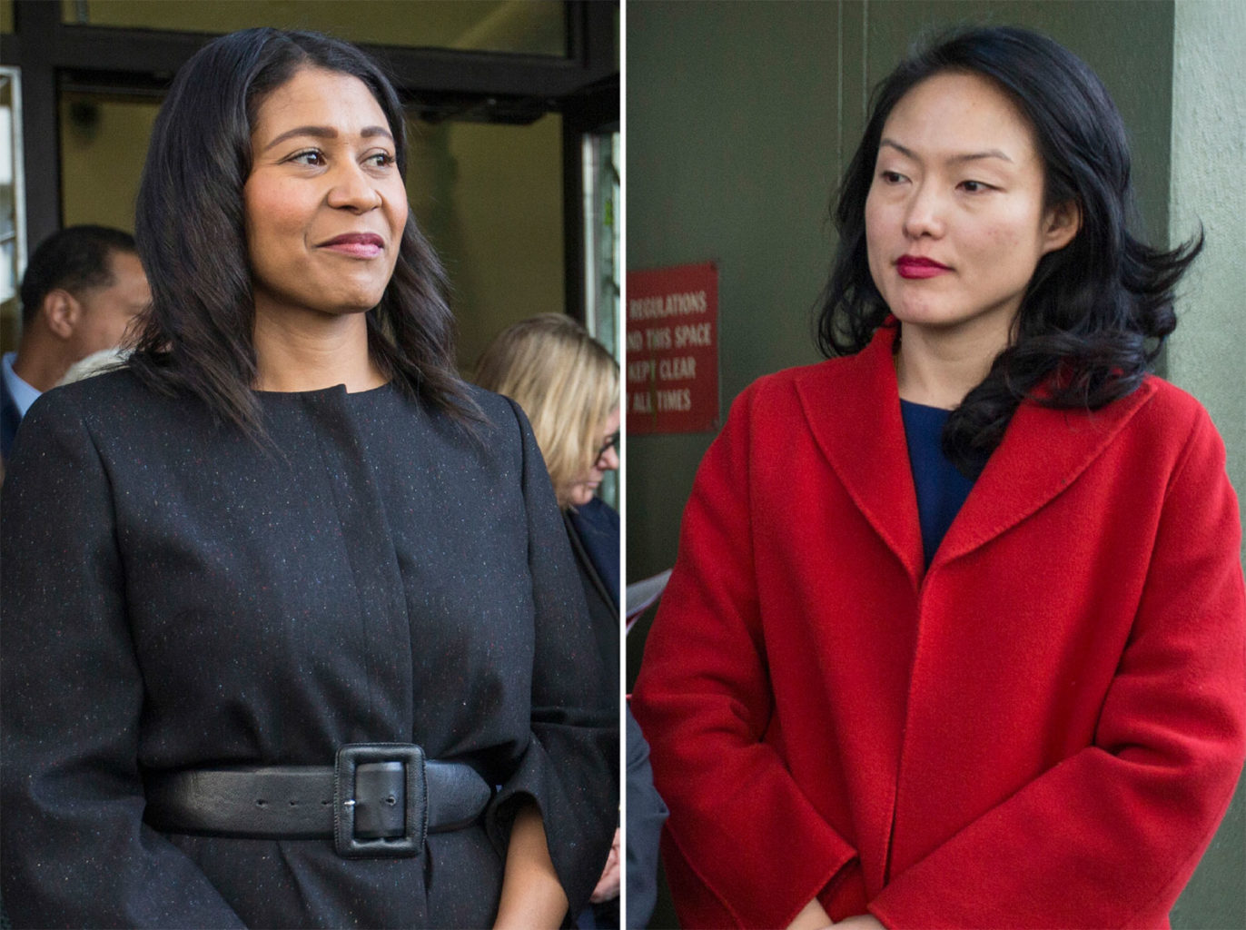 Acting Mayor London Breed, left, and Supervisor Jane Kim both accepted campaign contributions as high as $10,000 for races related to the Democratic County Central Committee. (Jessica Christian/S.F. Examiner)