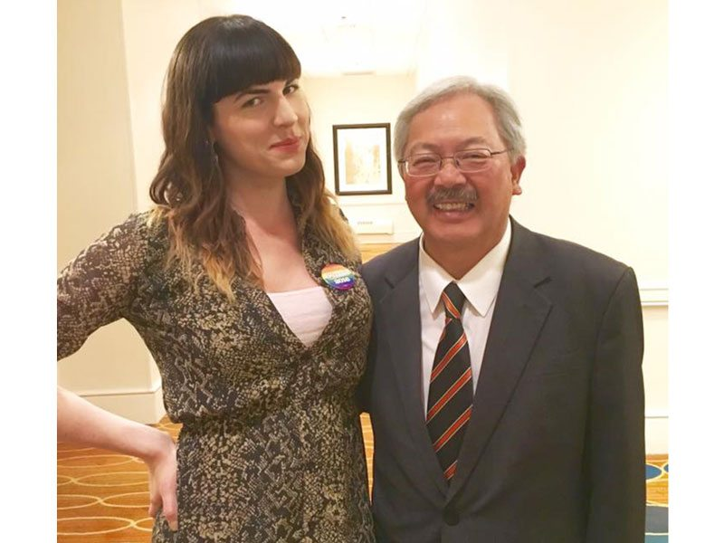 Mia Satya poses for a photo with San Francisco Mayor Ed Lee at the Democratic National Convention in Philadelphia on Monday. (Courtesy photo)