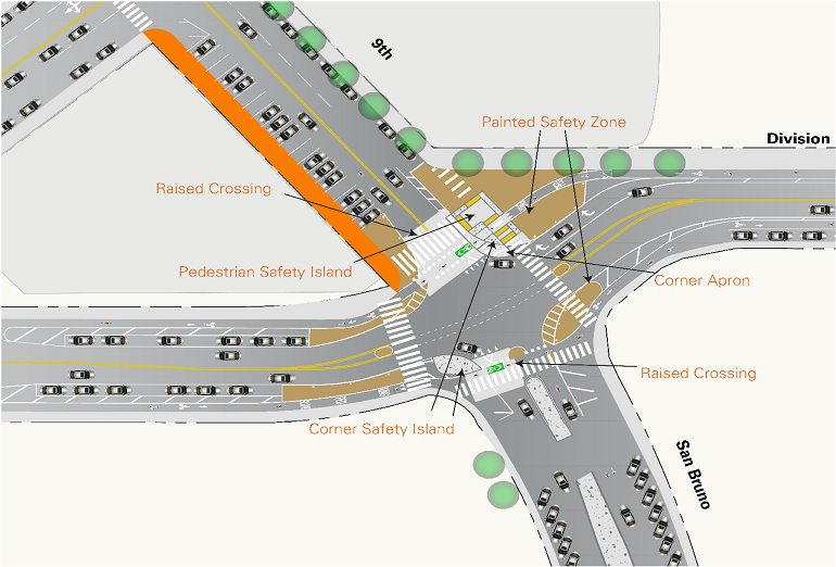 A rendering of the future protected bike lane project at the intersecton of Division and San Bruno streets (Photo courtesy SFMTA)