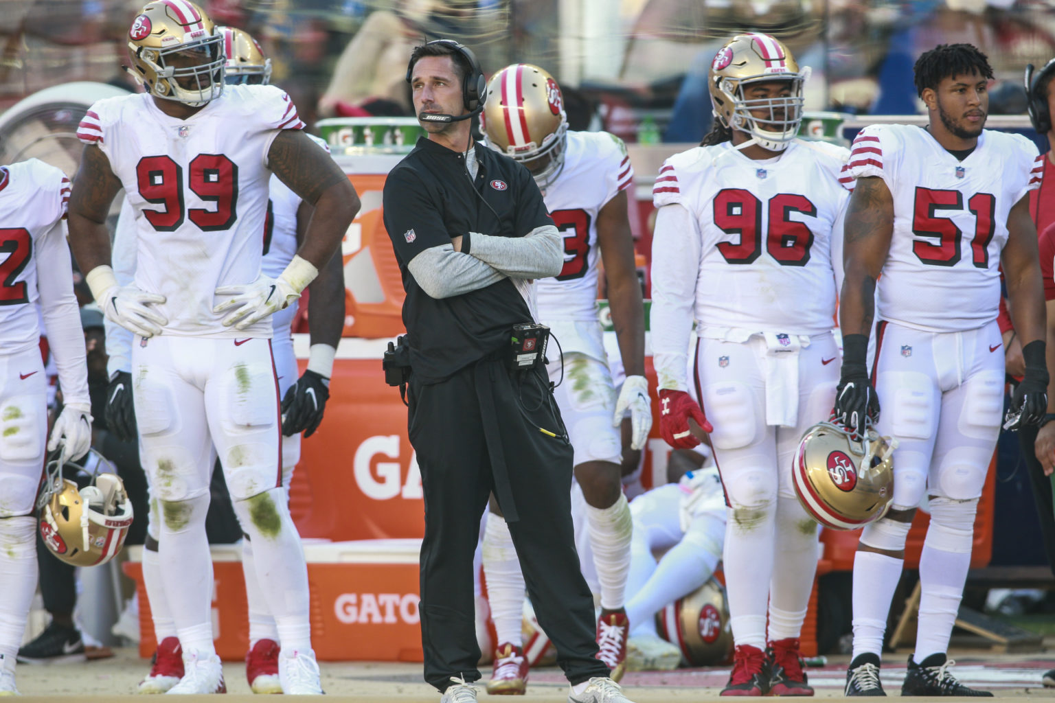 Head Coach Kyle Shanahan of the San Francisco 49ers paces during the game against the Los Angeles Rams at Levi's Stadium on October 21, 2018 in Santa Clara, California. (Chris Victorio / Special to S.F. Examiner)