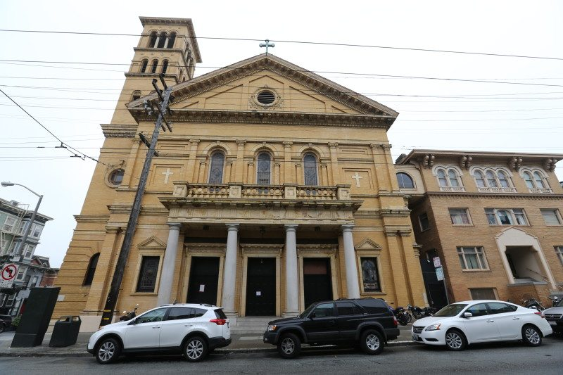 Owners of a vacant church at Fillmore and Fell streets, most recently used as the roller skating disco Church of 8 Wheels, are looking to convert the building into residential units, commercial/retail and community space. (Mike Koozmin/S.F. Examiner)