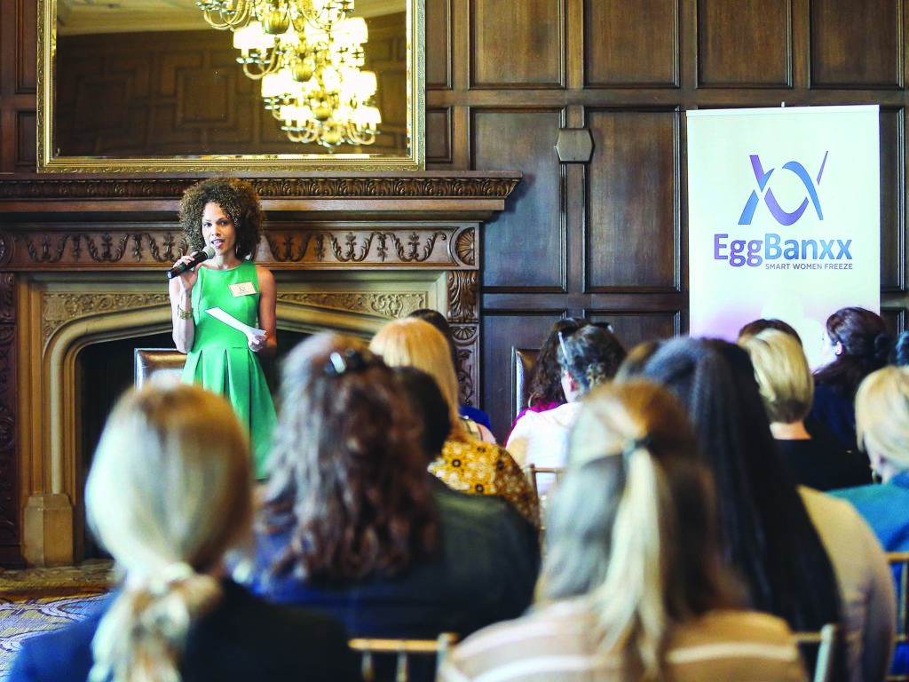 Eggbanxx Ambassador Jennifer Frappier speaking to the women in the audience at the #LetsChill Egg Freezing Party event in the Westin St. Francis. 335 Powell St, San Francisco on Tuesday June 23, 2015. (NATASHA DANGOND/SPECIAL TO THE S.F. EXAMINER)