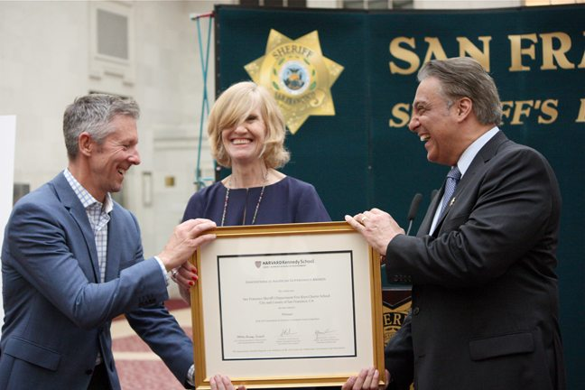Sheriff Ross Mirkarimi laughs with Steve Good of Five Keys Charter School and Harvard's Marty Mauzy while receiving The Innovation in American Government Award Tuesday, Sept. 22, 2015 (Kevin Kelleher/Special to the S.F. Examiner)