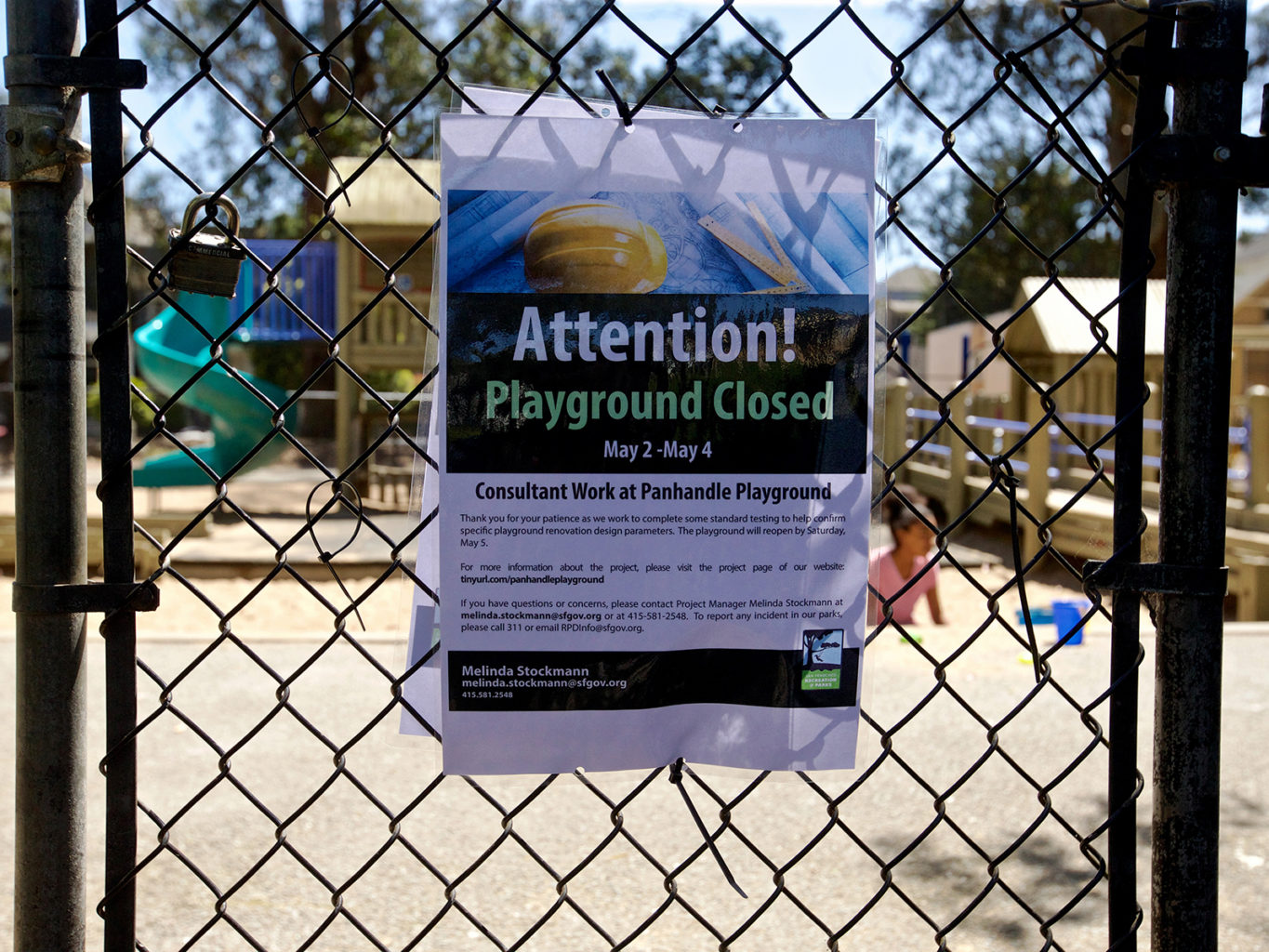 A sign at the Panhandle playground lets people know about a short-term closure in preparation for renovations. (Kevin N. Hume/S.F. Examiner)