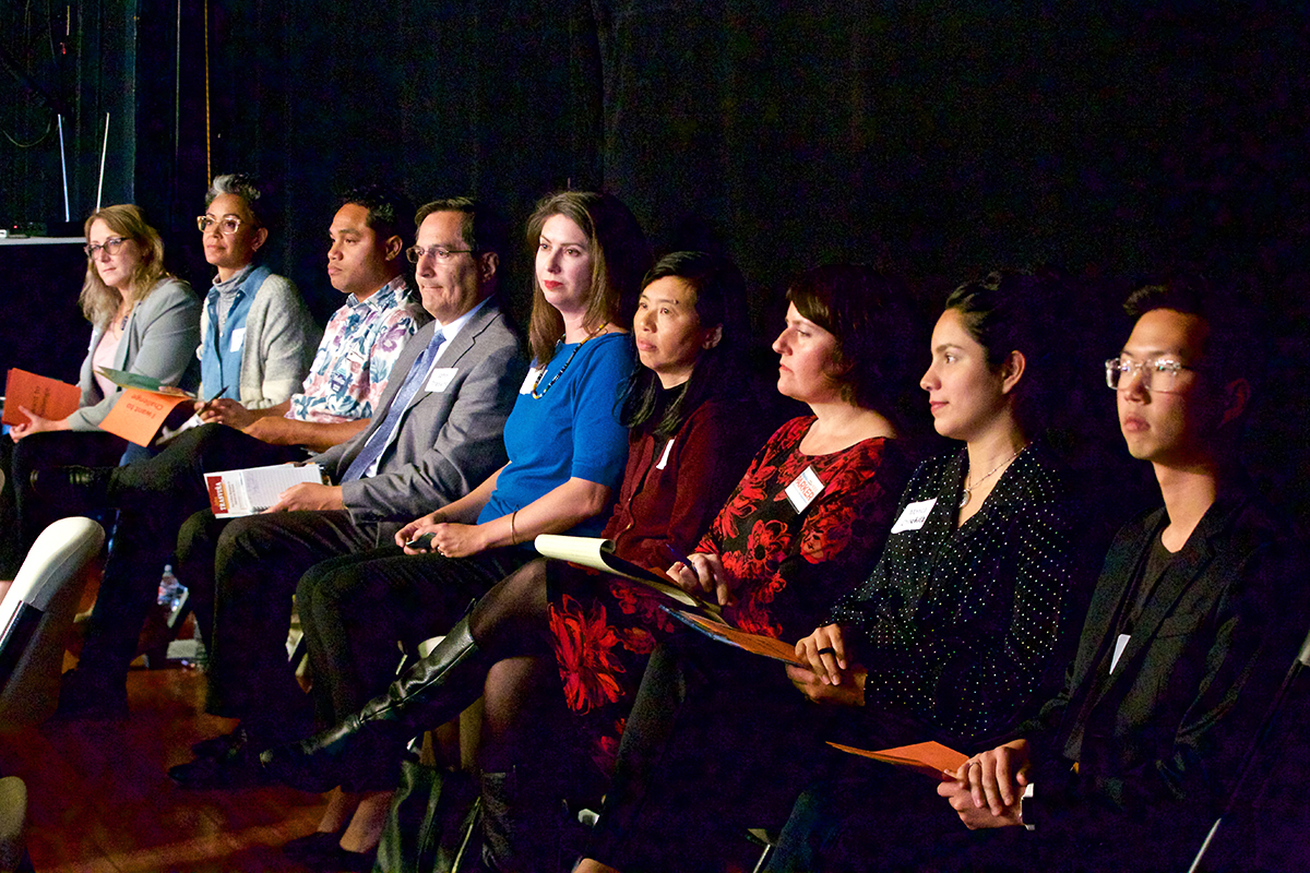 Nine of the 18 candidates running for three seats on the San Francisco Unified School District Board of Education attended a forum at the Potrero Hill Neighborhood Center. (Kevin N. Hume/S.F. Examiner)