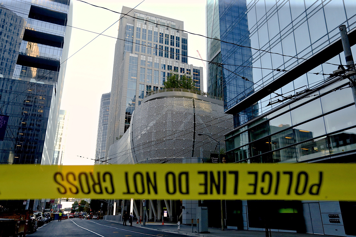 Caution tape blocks off the area around Salesforce Transit Center following its closure due to the discovery of a cracked steel beam on Tuesday, Sept. 25, 2018. (Kevin N. Hume/S.F. Examiner)