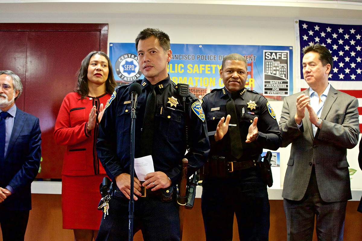 Police Capt. Paul Yep speaks as police and city officials announce the opening of a new center in Chinatown to connect residents with bilingual officers at the Portsmouth Square Clubhouse on Wednesday, Nov. 28, 2018. (Kevin N. Hume/S.F. Examiner)