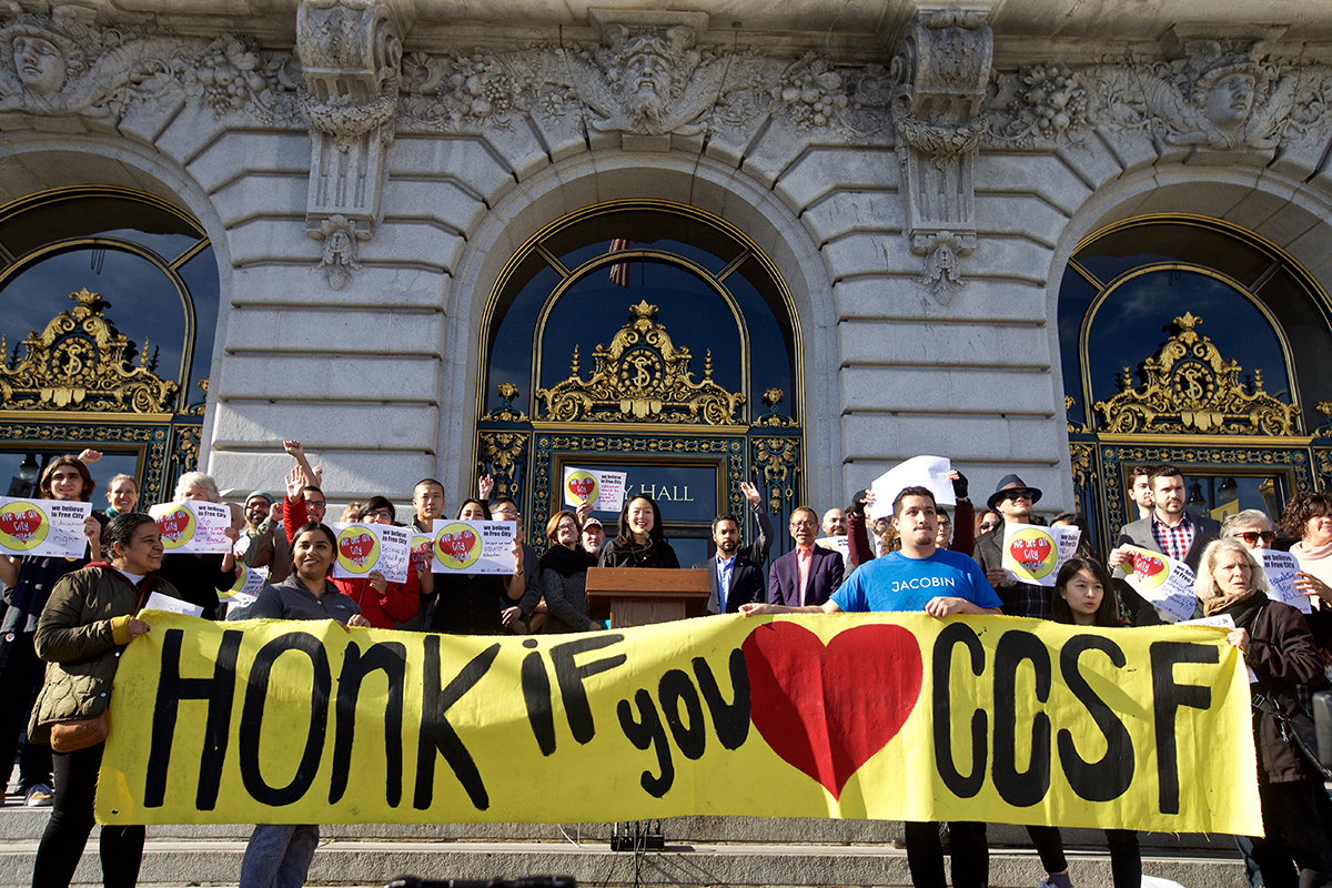 Supervisor Jane Kim speaks at a rally to support funding the Free City College program before the Board of Supervisors votes on a City Charter amendment to fund the Free City College pilot project for 10 years on Tuesday, Dec. 18, 2018. (Kevin N. Hume/S.F. Examiner)