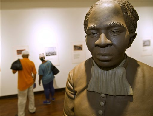 A statue of Harriett Tubman is the centerpiece of the History Gallery at the Tubman Museum on Wednesday in Macon, Ga. (Woody Marshall/The Telegraph via AP