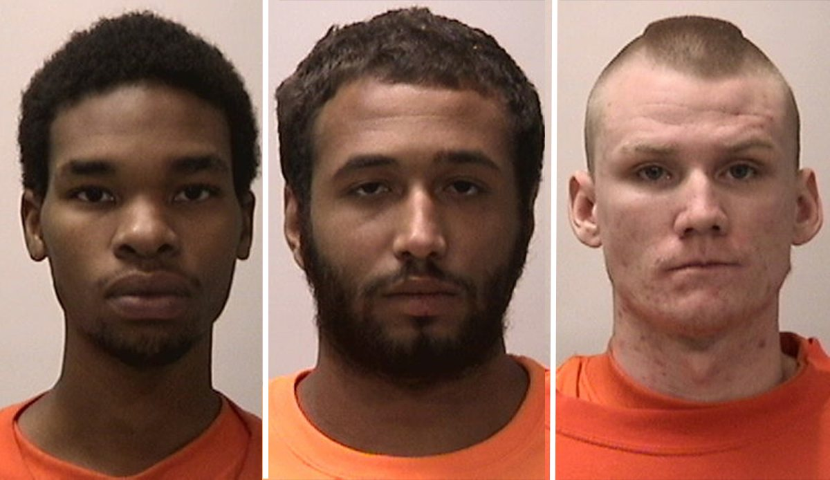 From left to right: David Peters, 21; Anthony Gibson-Brum, 22; and Joseph Stull, 21. (Courtesy SFPD)