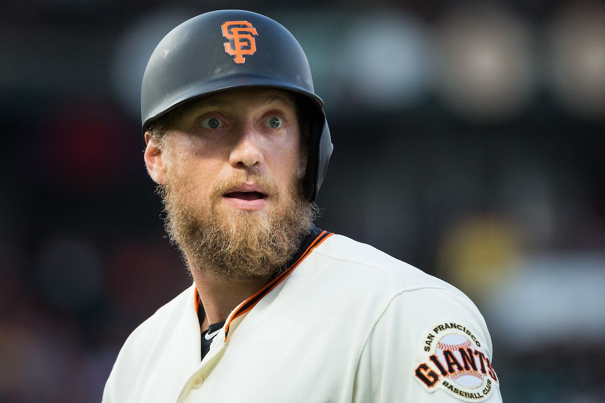San Francisco Giants right fielder Hunter Pence (8) reacts to being called out at first base against the Oakland Athletics at AT&T Park in San Francisco, California, on August 3, 2017. (Stan Olszewski/Special to S.F. Examiner)