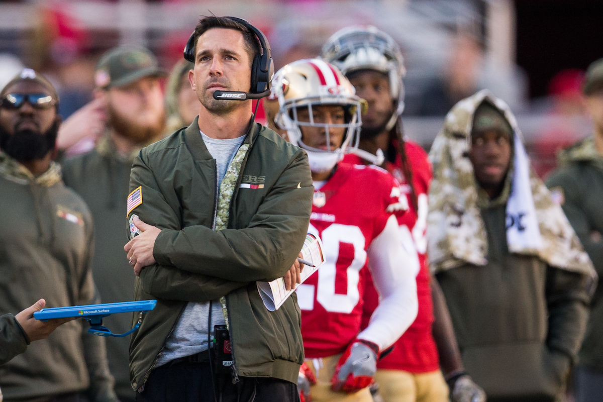 Kyle Shanahan frequently says he doesn't want his team to get too high or too low. Their recent play has tested that theory as good vibes pervade the 49ers locker room. (Stan Olszewski/Special to S.F. Examiner)