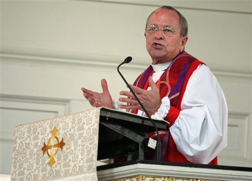 Bishop Gene Robinson , now retired, said he is breathless about how quickly the gay rights movement has progressed since he was getting daily death threats and forced to wear a bulletproof vest to his consecration 12 years ago.  (AP Photo/Coke Whitworth, File)