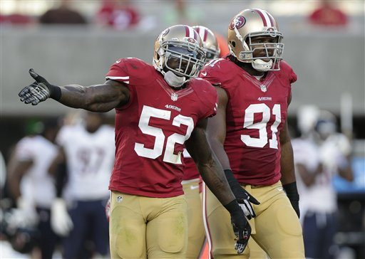 Marcio Jose Sanchez/AP file photoNiners linebacker Patrick Willis says he will play Sunday despite a wrist injury.