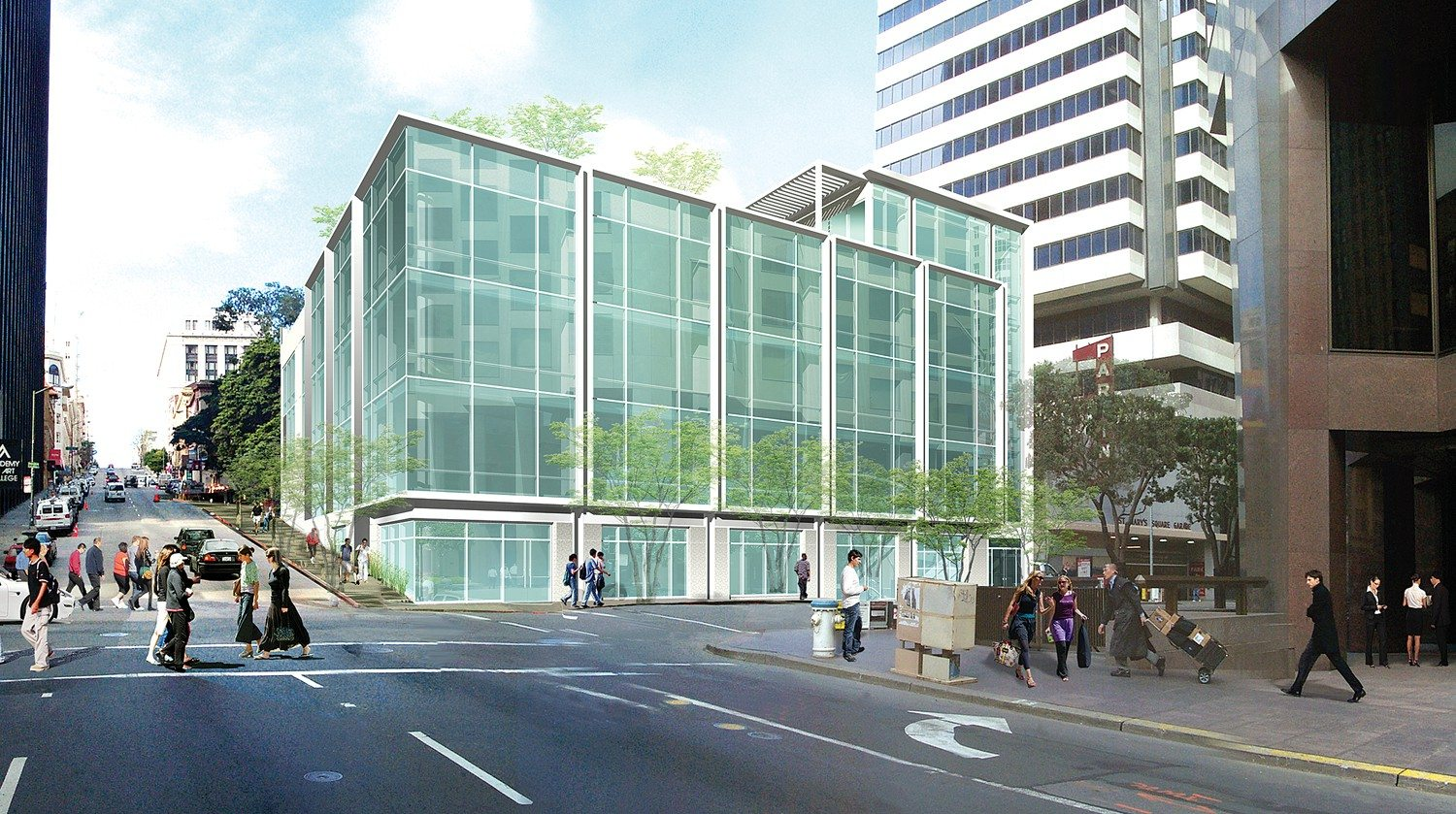 courtesy HELLER MANUS ARCHITECTSA glass building is slated for 500 Pine St. It will include a rooftop park design. The project was picked up by a new developer following the recession.