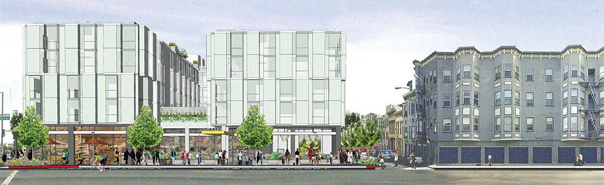 Courtesy renderingThe Planning Commission has approved a chain grocery store for the 555 Fulton project