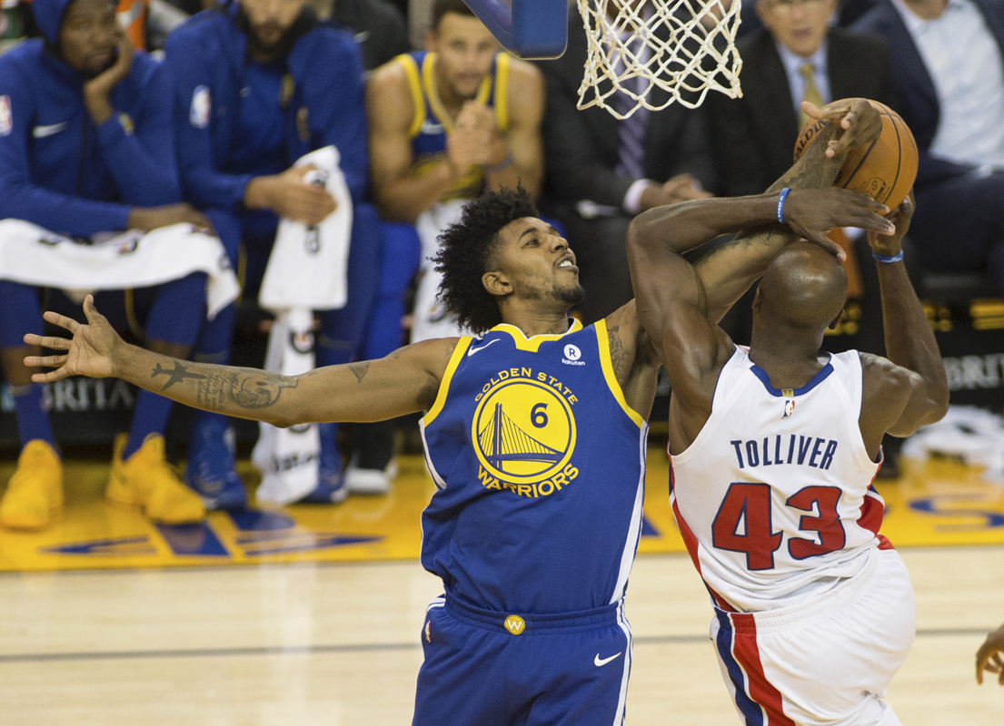 Golden State Warriors Nick Young (6) blocks during a game between the Golden State Warriors and the Detroit Pistons in Oracle Arena in Oakland, Calif. Sunday, October 29, 2017. (Daniel Kim/Special to S.F. Examiner)