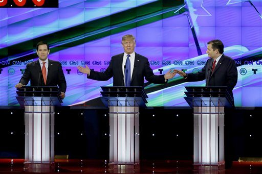 From left, Republican presidential candidate, Sen. Marco Rubio, R-Fla., Republican presidential candidate, businessman Donald Trump and Republican presidential candidate, Sen. Ted Cruz, R-Texas, speak and gesture during a Republican presidential primary debate at The University of Houston on Feb. 25 in Houston. (AP Photo/David J. Phillip)