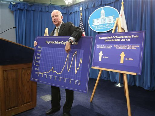 AP PhotoGov. Jerry Brown holds a chart showing the unpredictable nature Capitol gains tax revenues have on the state budget as he unveils his revised 2014-15 spending plan at the Capitol in Sacramento