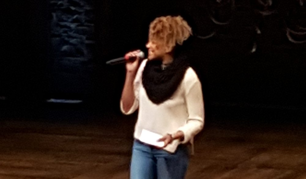 Emmy Raver-Lampman, who portrays Angelica, hosted a recent session of EduHam at the Orpheum Theatre. (Leslie Katz/S.F. Examiner)