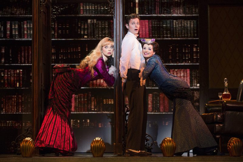 "From left, Kristen Beth Williams, Kevin Massey and Adrienne Eller bring the house down in the touring production of ""A Gentleman's Guide to Love & Murder"" at the Golden Gate Theatre. (Courtesy Joan Marcus)"