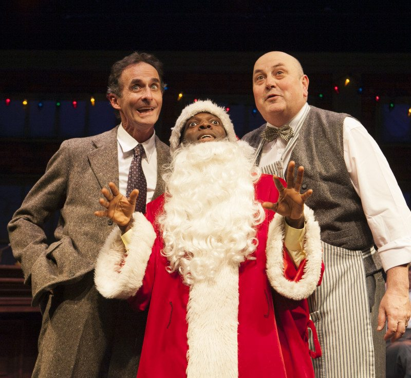 "From left, Jackson Davis, Rotimi Agbabiaka and Søren Oliver appear in ""Word for Word's Holiday High Jinx"" onstage at Z Below. (Courtesy Julie Schuchard)"