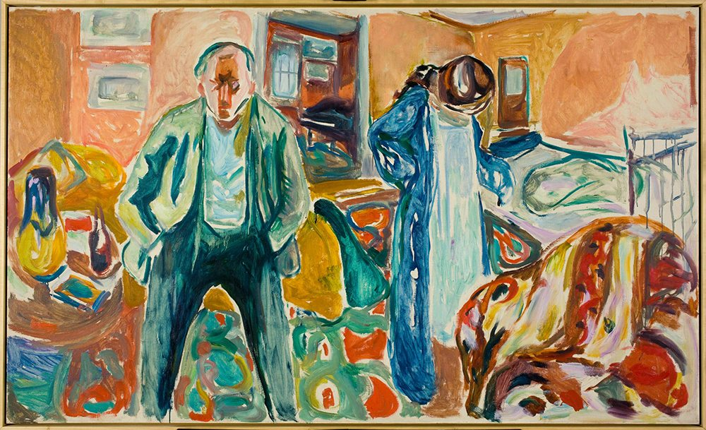 "Edvard Munch painted scenes from his life, including the colorful yet tense ""The Artist and His Model."" (Courtesy San Francisco Museum of Modern Art)"
