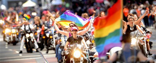 "A contingent of ""Dykes of Bikes"" kicks off San Francisco's gay pride parade in 2012. (AP Photo/Noah Berger)"