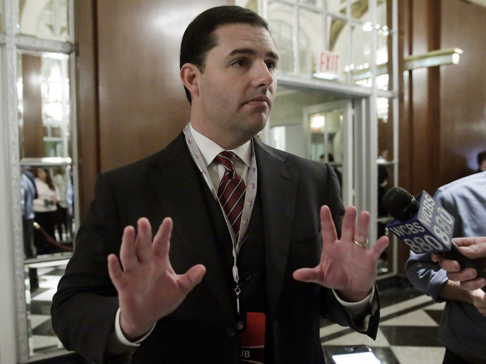 San Francisco 49ers CEO Jed York talks to reporters during a break of the NFL owners meeting in New York on Wednesday, Oct. 7, 2015. (Richard Drew/AP)